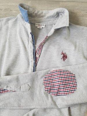 U.S. Polo Assn. Langarm-Poloshirt, grau mit Glitzer und Karo-Patches