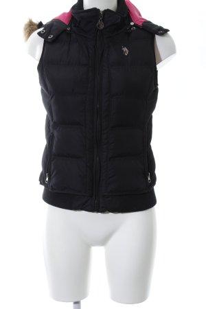 U.s. polo assn. Gewatteerd vest zwart quilten patroon casual uitstraling