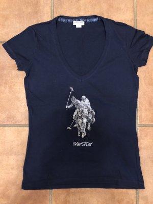 U.s. polo assn. Camiseta estampada color plata-azul oscuro