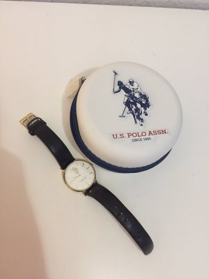 U.s. polo assn. Watch With Leather Strap black-gold-colored