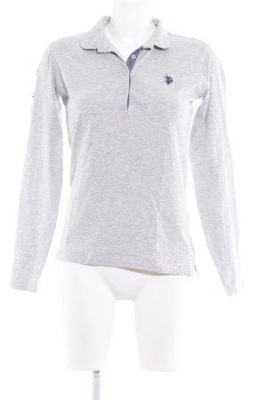 U.s. polo assn. V-Ausschnitt-Pullover hellgrau-stahlblau sportlicher Stil