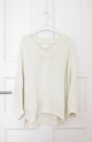 Coarse Knitted Sweater cream-natural white cotton