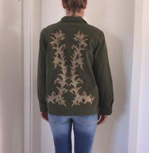 Überall Ausverkauft!!! Zara Jeans Jacke Khaki mit aufwendiger Bestickung