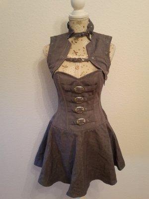 Überbrust Korsett Kleid mit Bolero grau - Gothic Steampunk Vintage