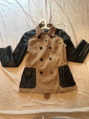 Leather Coat beige-black