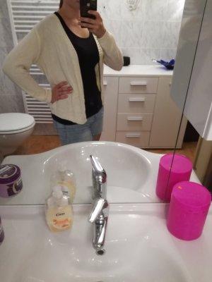 Smanicato lavorato a maglia crema-rosa pallido