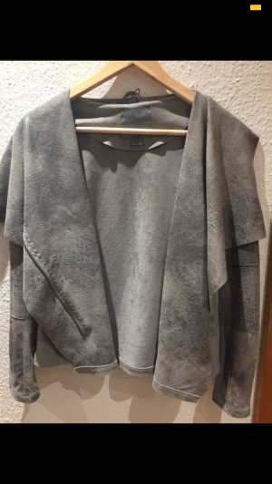 & other stories Faux Leather Jacket grey-silver-colored