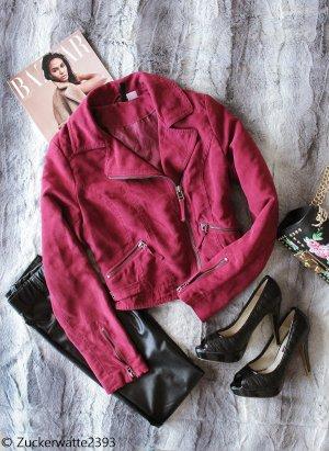Übergangsjacke für den Frühling Weinrot H&M 34/XS Wildleder