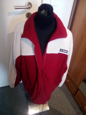 Übergangsjacke - rot/weiß - mit Kragen und Reißverschluss - XXL - T-Mode