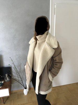 Zara Chaqueta de piel blanco puro-beige