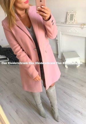 Übergangsmantel langer Mantel Übergangsjacke lange Jacke Puderfarbe Blogger Mantel passt bei Größe 40-42