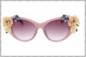 Übergroße Cat Eye Sonnenbrille Strasssteine Blume Bunt Rosa NEU Blog Oversized