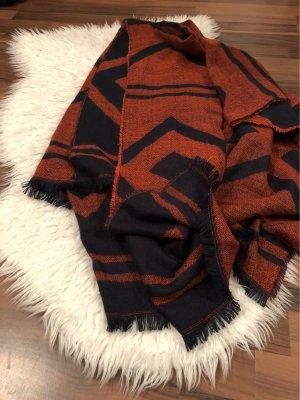 H&M Bufanda de lana rojo amarronado-azul oscuro