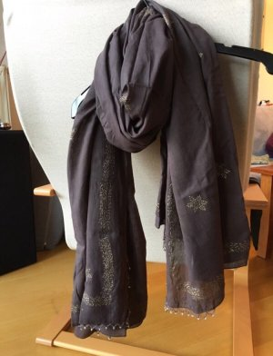 Pañuelo marrón oscuro-color oro