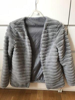 SheIn Giacca di pelliccia grigio chiaro-bianco