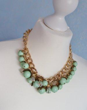 Üppige Statement Modeschmuck Halskette Mint Türkis Grün Pastell Goldfarben Perlen Gliederkette Kette