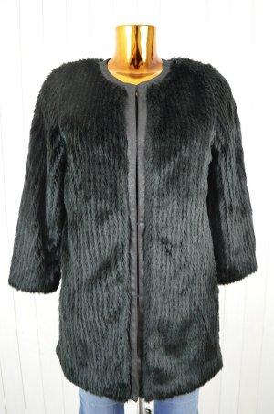 UF UNREAL FUR Damen Jacke FAUX SUR COAT Kunstpelz Schwarz Fake Fur Gr. M