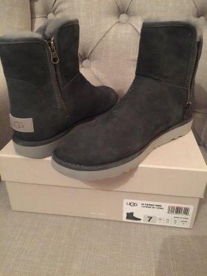UGG abree mini grau schwarz grigio 38 NEU ovp bailey slim bow lammfell boot US7