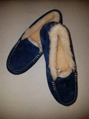 UGG Australia Pantuflas azul oscuro-blanco puro Gamuza