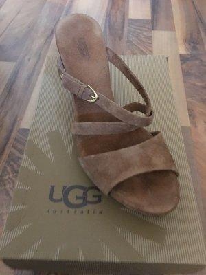 UGG  australia 40 Sandale Keilabsatz braun Wild Leder
