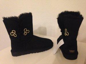 UGG Australia BAILEY BUTTON MARIKO Lammfell Boots Schwarz Black 39 Uggs Orig NEU