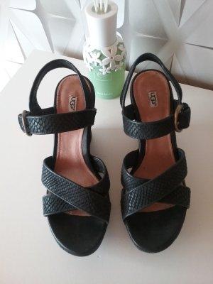 UGG Australia Sandales à talons hauts et plateforme noir cuir