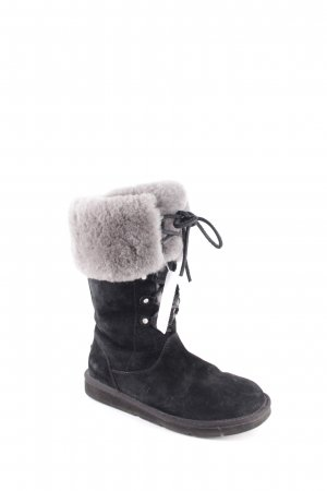 UGG Australia Slouch Stiefel schwarz-hellgrau Kuschel-Optik