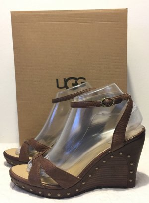 UGG Australia Wedge Sandals brown leather