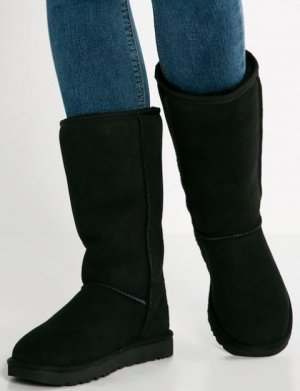 UGG Australia Fur Boots black leather