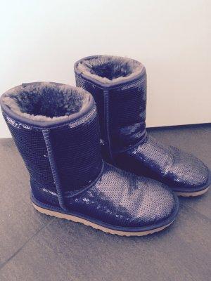 Ugg Boots lila blau Pailletten 38 Stiefel winter Blogger Fashion Fell stiefel
