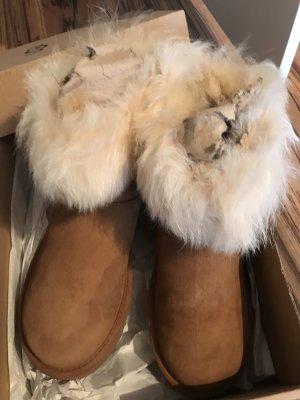 UGG Bottes de neige cognac-blanc cassé