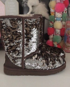 Ugg Boots Pailletten Leo Muster Silber glitzer braun 38