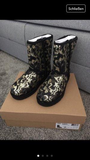 Ugg Boots schwarz Gold neu 38 Pailletten Stiefel Schuhe Blogger Fashion Glitzer