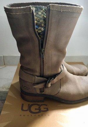 UGG Boots/Stiefeletten Leder in Beige mit Reißverschluss *41*