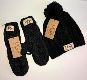 UGG Knitted Gloves black wool