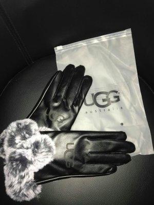 UGG Guantes de cuero negro-gris Cuero
