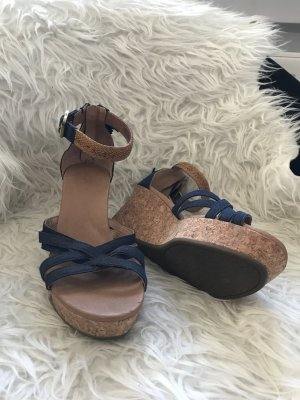 UGG Strapped High-Heeled Sandals blue-bronze-colored
