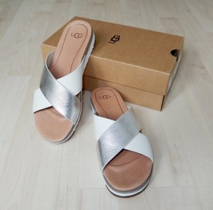 UGG Heel Pantolettes white-silver-colored leather