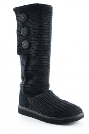 UGG Snow Boots black weave pattern casual look