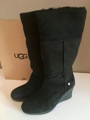 UGG Stiefel mit Keilabsatz, schwarzes Wildleder, Größe 39 - ORIGINAL