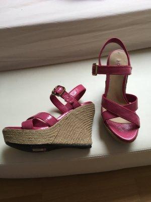 Ugg Wedges pink Keilabsatz Pumps Lack rosa 38 Gold Sandaletten Sandalen