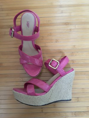 UGG Wedges rosa pink 38 Leder Lackleder Original High Heels Pumps