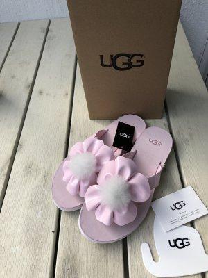 Ugg Zehentrenner rosa mit Blume neu mit Karton