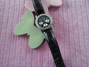 Fabiani Horloge met lederen riempje zwart-zilver