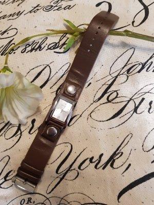 Prego Montre avec bracelet en cuir argenté-brun