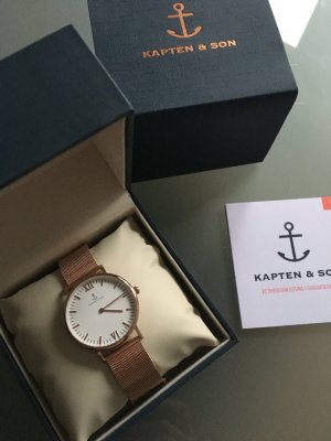 Kapten & Son Watch With Metal Strap white-gold-colored metal