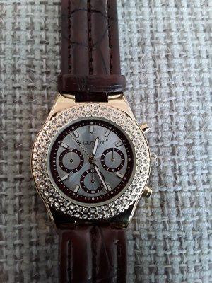 Uhr / Chronograph mit vielen Glitzer Steinchen, von Laura Scott - Neu