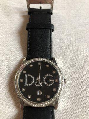 Dolce & Gabbana Montre avec bracelet en cuir noir-argenté