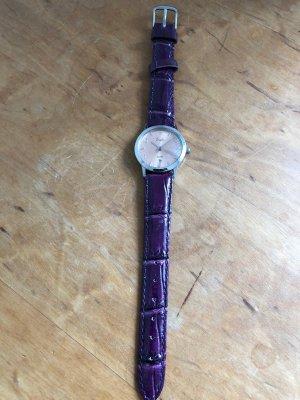 Montre analogue violet foncé-rose chair