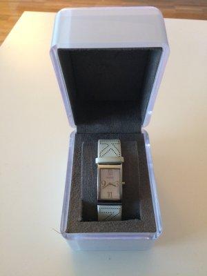 Uhr DKNY, weißes Lederarmband